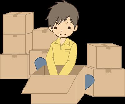 4、単身(一人暮らし)の男性が山祇のダンボールの部屋で引っ越しの準備をするイラスト